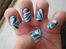 blue black u0026 white water marbled nails by victoria u0027s nails the