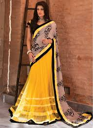 and yellow net and pure georgette patch border work and print