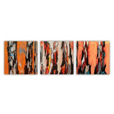 saatchi orange abstract tree landscape triptych set of 3