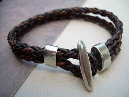 braided leather bracelet mens images Antique brown braided leather bracelet with toggle clasp leather jpg