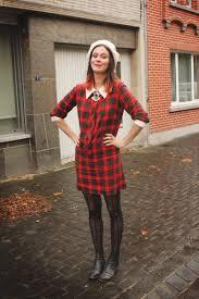 red dresses dark gray boots black tights cream accessories
