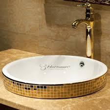 Overmount Bathroom Sink Drop In Luxury Gold Mosaic Enamel Bathroom Vessel