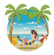 cartoon man on beautiful tropical beach u2014 stock vector