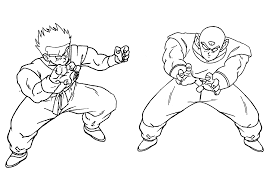 coloring page yamcha and tien shinhan