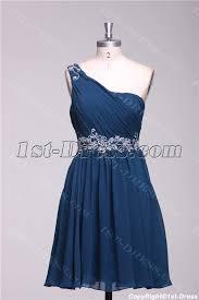 navy blue one shoulder cute cocktail dress for juniors 1st dress com
