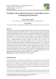 the effect of genre based teaching on iranian efl learners u0027 l2