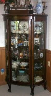 Antique Display Cabinets Ebay Uk Antique Victorian Oak Bowed Glass China Curio Cabinet Victorian