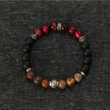 red bracelet men images Mens bracelets sterling silver jewelry red tiger eye natural stone jpg