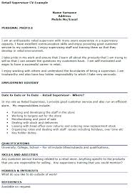 Retail Job Responsibilities Resume by Retail Supervisor Cv Example Icover Org Uk