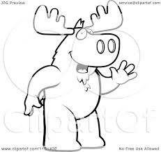 cartoon clipart of a black and white friendly moose standing and