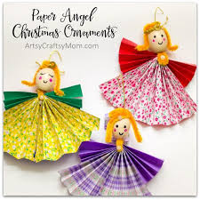 Christmas Decorations Paper Angels by How To Make Paper Angel Christmas Ornaments Artsy Craftsy Mom
