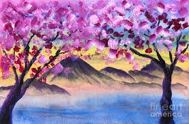 blossom trees cherry blossom trees by the lake at dusk painting by beverly claire