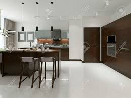 interior of modern kitchen with bar and bar stools kitchen