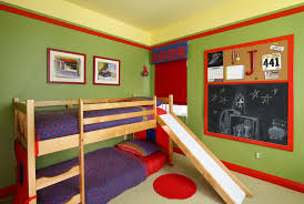 Red And Blue Bedroom Decorating Ideas Divine Boys Bedroom Design Featuring Teak Wood Bunk Bed Combine
