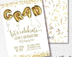 8th grade graduation invitations gold grad invite etsy