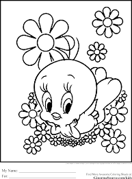 tweety bird coloring pages flowers ginormasource kids