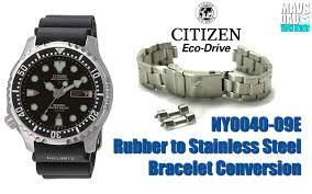 stainless steel bracelet strap images One of my favs citizen ny0040 09e rubber to stainless steel jpg