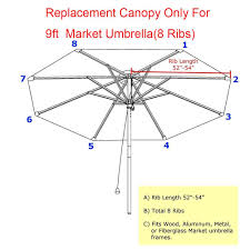 Patio Umbrella Canopy Replacement 8 Ribs by Amazon Com 9ft Market Umbrella Replacement Canopy 8 Ribs