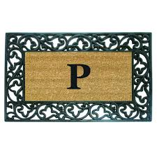 Rubber Home Depot by Nedia Home Acanthus Border 22 In X 36 In Rubber Coir Monogrammed