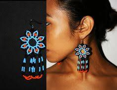 Native American Beaded Earrings Huichol Native American Medallion Earrings Huichol Earrings Peyote