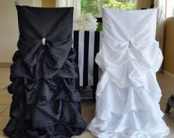 Black And White Chair Covers Ruffle Chair Cover Etsy