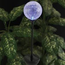 lighted garden ornament crackle glass globe solar stake light