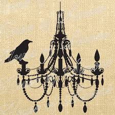 halloween tea towels halloween chandelier crow bird vintage download graphic image art