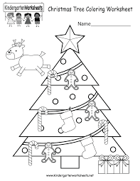 christmas tree coloring worksheet free kindergarten holiday