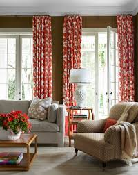 Family Room Curtains Coral Printed Curtain And Black Wall Color For Sweet Family