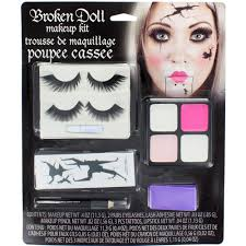 broken doll halloween makeup kit with eyelashes tattoos paint