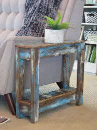 blue heavy distressed side table