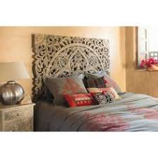 chambre à coucher maison du monde tête de lit 160 sculptée en manguier massif blanche effet vieilli