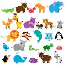 vector collection of animals one animal for each letter of the