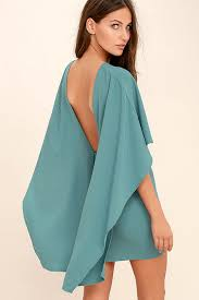backless dress turquoise blue dress backless dress cape dress 54 00