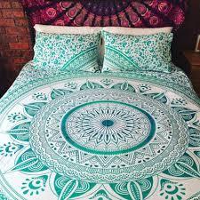 bohemian turquoise light blue sun flower boho 3 pc king bed set