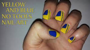 yellow and blue no tools nail art youtube