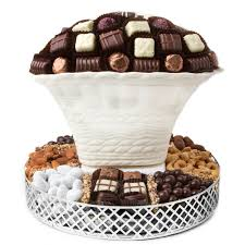 non food gift baskets oval chocolate vase with chocolate and nuts non dairy kosher