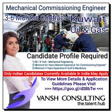 commissioning engineer mechanical commissioning engineers for major gas projects in