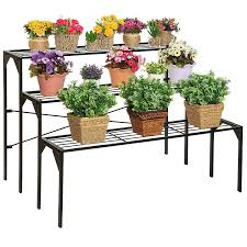 Herb Shelf Large Modern Black Metal 3 Tier Shelf Flower Plant Display Stand