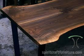 live edge table chicago black walnut live edge table on mid century modern black steel
