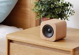 sugr cube portable wireless speaker shows off wifi and wooden