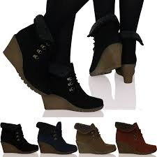 womens wedge ankle boots uk womens wedge lace up fur lined ankle boots booties warm