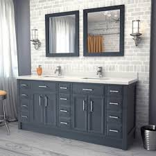 master bath grey long vanity set white counter top with chrome