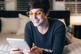 blue light blocking glasses for sleep face on with jins screen night blue light blocking glasses medgadget