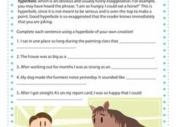 hyperbole for kids worksheet education com