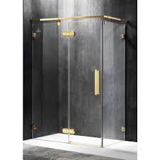 Gold Shower Doors Anzzi Sultan 55 51 In X 78 74 In Semi Frameless Corner Hinged