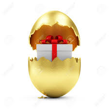 golden easter egg happy easter concept big broken golden egg with gift box inside