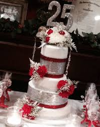mom and dads 25th wedding anniversary cake bling silver