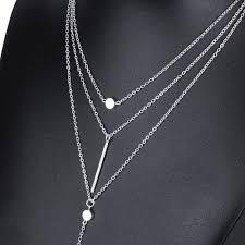 layer necklace images Famshin women necklaces pendants 3 multi layer necklace tassel jpg