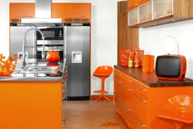 colorful kitchen design colorful kitchen design ideas with orange cabinet and refrigerator